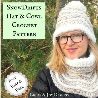 snowdrifts crochet hat cowl set