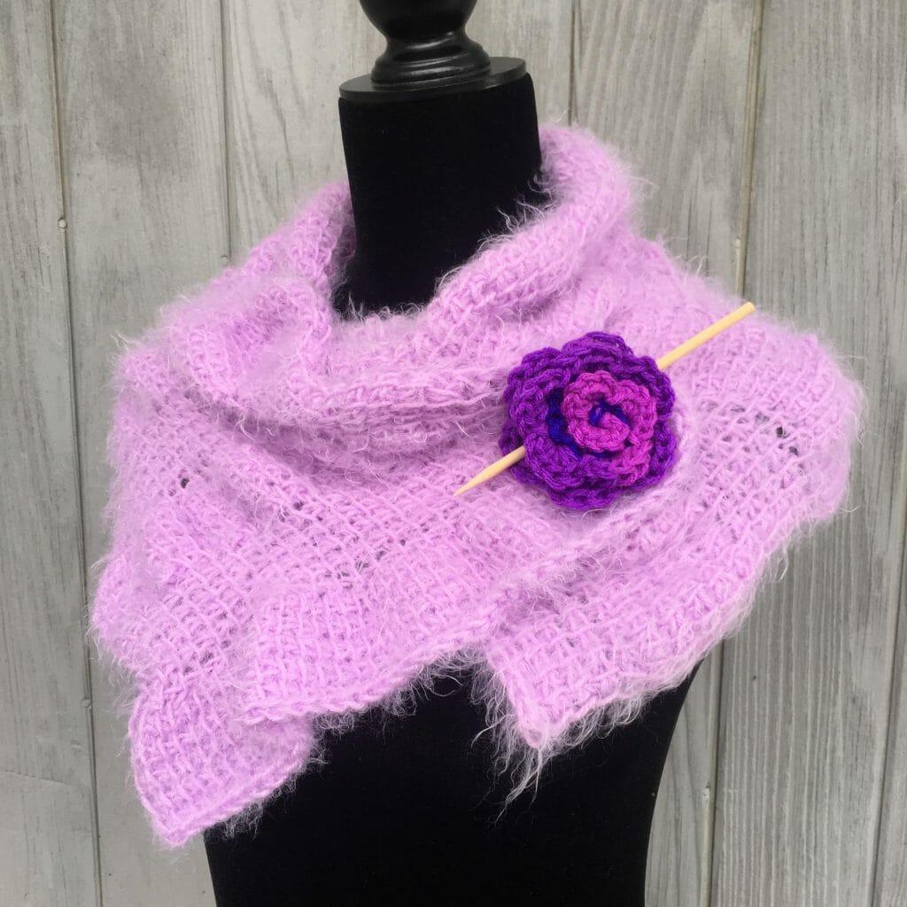 crochet rose shawl pin pattern