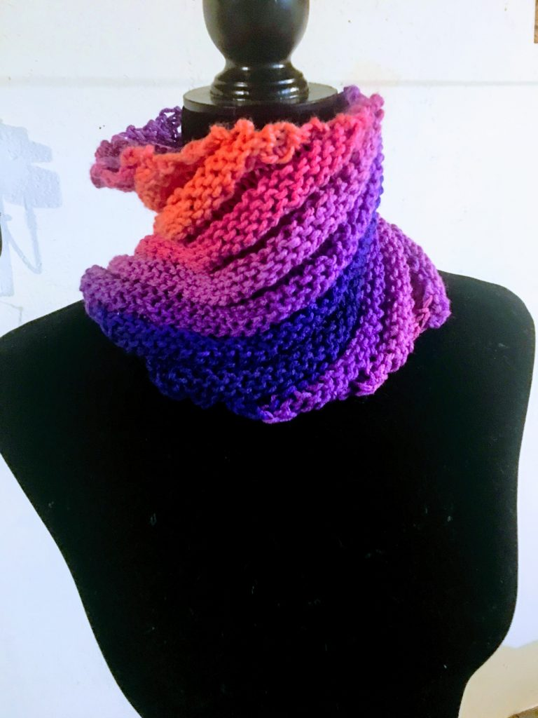 sunset spiral knit cowl