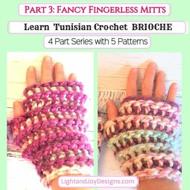 Tunisian Brioche Crochet Fingerless Gloves Mitts