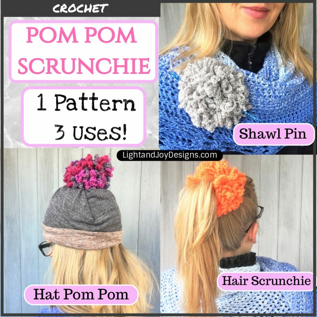 pompom crochet scrunchie