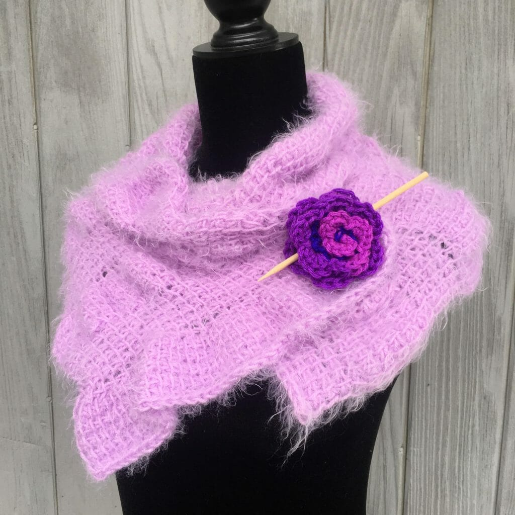 crochet rose shawl pin pattern